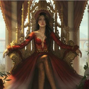 queen-red-dress-sitting-throne-symbol-power-queen-red-dress-sitting-throne-symbol-power-wealth-146335691